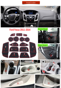 Image 5 - Anti Slip Gate Slot Mat Rubber Coaster for Ford Focus 3 MK3 2011 2012 2013 2014 pre facelift ST RS Accessories Car Stickers 13Pc