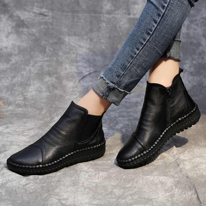 8dc50e7a6 Весна-Осень 2018 г. Новая женская обувь на плоской подошве, кожаные ботинки  для