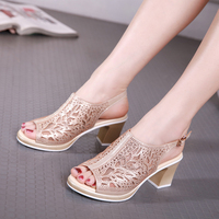 Women Fish Head Bowl Women Sandals Sexy Hollow Peeper Toe Wedding Summer Shoes High Heels 6cm Mesh Crystal Mature Black Pump sw