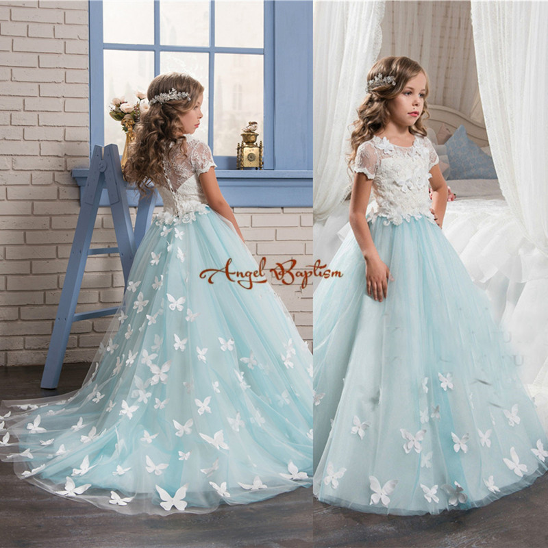 2018 white and shybule lace appliqued tulle flower girls dresses with sash A-line girls birthday party dresses kids Formal wear 2017 girls dresses in black and white stripes 100