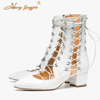 Summer Motorcycle Ankle Boots Pointed Toe Cross-tied Zipper Women Shoes Lady Ladies Fashion Dress Rome Nancyjayjii 2019