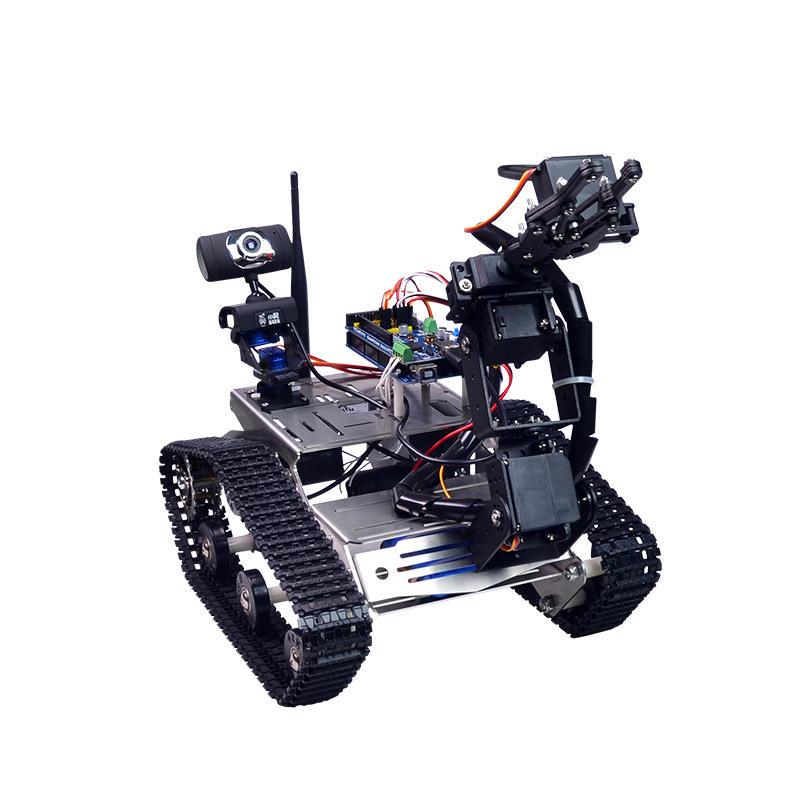 DIY Wifi Rrobot Smart Car Robots Wifi Video Control Tank with Camera Gimbal Compatible with Arduino 2560