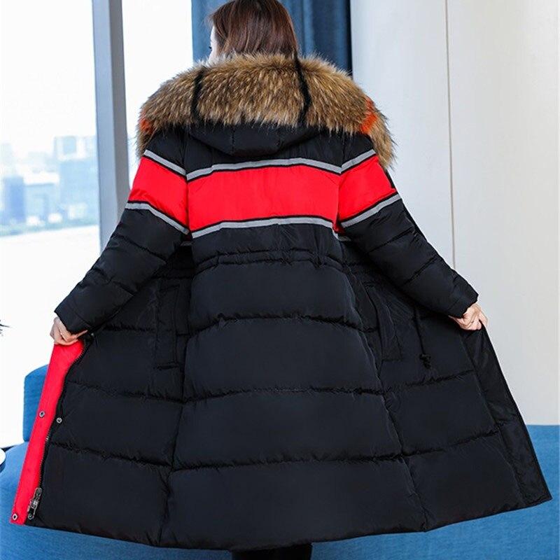 Fourrure Taille D'hiver Manteaux Col Parkas 5xl Femmes La À Femme De Plus Red Grand Grande Broderie Épaissir Veste black Capuchon Coton Vestes qSft57Hx