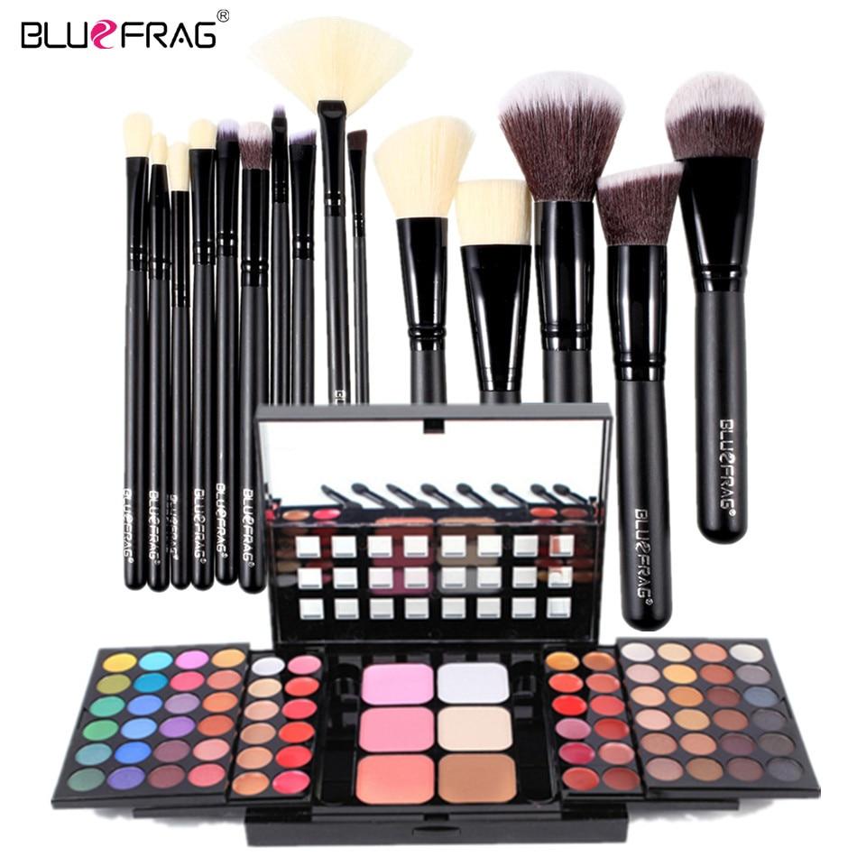 Professional 15Pcs Makeup Brush + 78 color matte&shimmer eye shadow Concealer Brightening Face powder Makeup Set Combo BLUEFRAG professional eye brush 15pcs