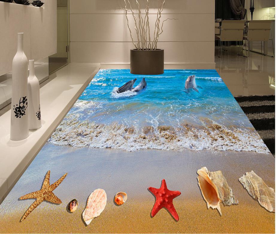 Photo floor wallpaper 3d stereoscopic Waterproof floor mural painting  beach self-adhesive 3D floor