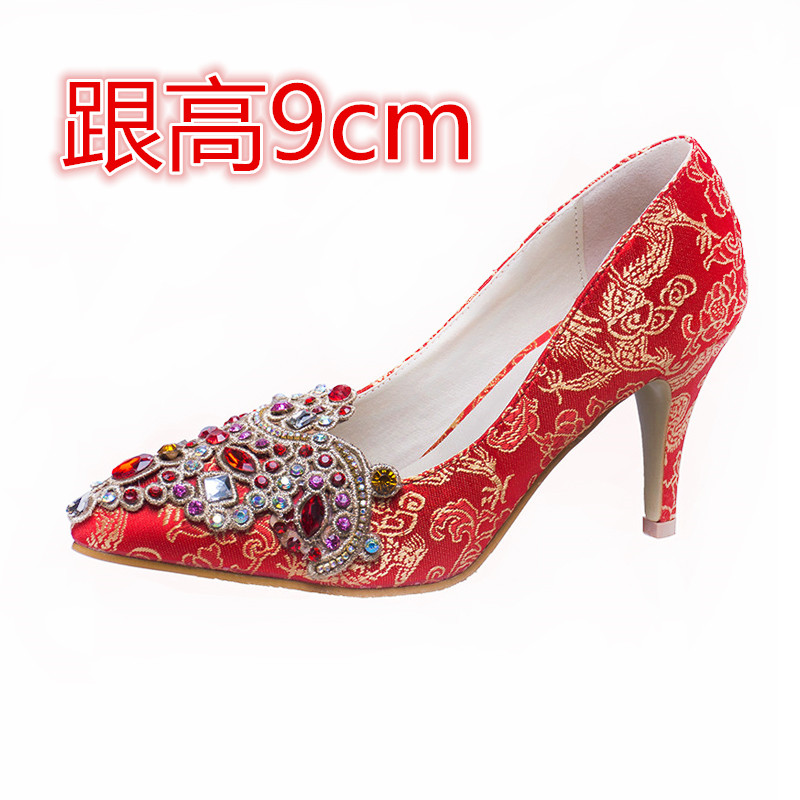 ФОТО Chinese style red wedding shoes high-heeled shoes bridal shoes single shoes women's shoes small yards 31 32 33 plus size 40 41