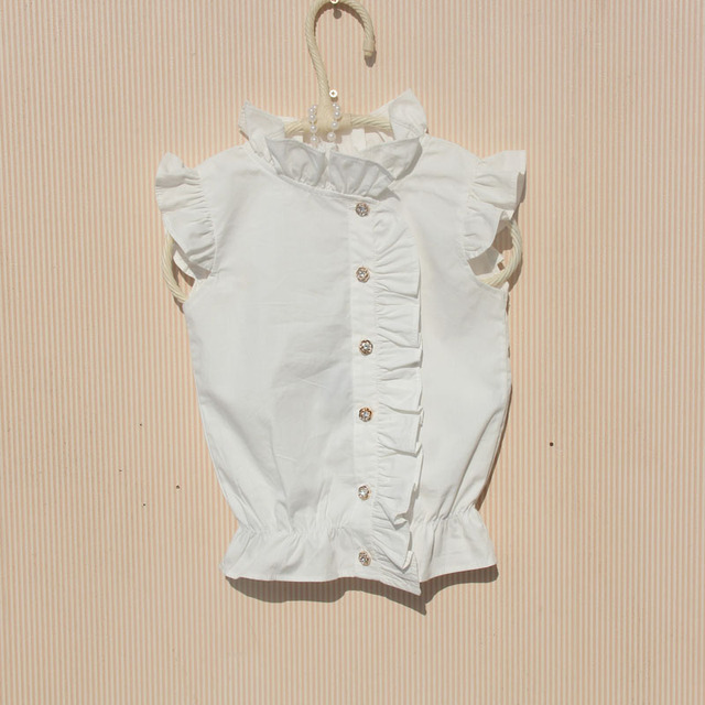 18587a18f454 2018 Summer Baby Toddler Teenage Child Girls Blouse White Cotton ...