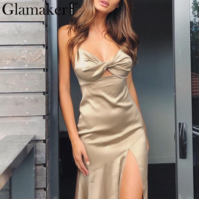Glamaker Backless Dress Glamaker Satin chic sleeveless khaki sexy dress Women luxury strap backless  navy split dress Party evening assymetric long dress