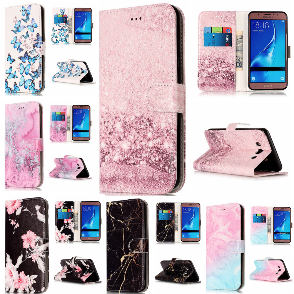 Wallet Leather Case For Samsung Galaxy J5 2016 Flip Case Colorful Marble Pattern Cover for Samsung J5 2016 J510 Case in Fitted Cases from Cellphones Telecommunications
