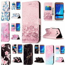 Wallet Leather Case For Samsung Galaxy J5 2016 Flip Case Colorful Marble Pattern Cover for Samsung J 5 2016 J510 With Card Slot недорого