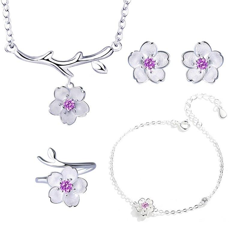 ANENJERY, 925 пробы, серебряные ювелирные наборы, романтическая цветущая вишня, цветок, ожерелье+ серьги+ кольцо+ браслет для женщин - Окраска металла: Purple 4 pcs per set