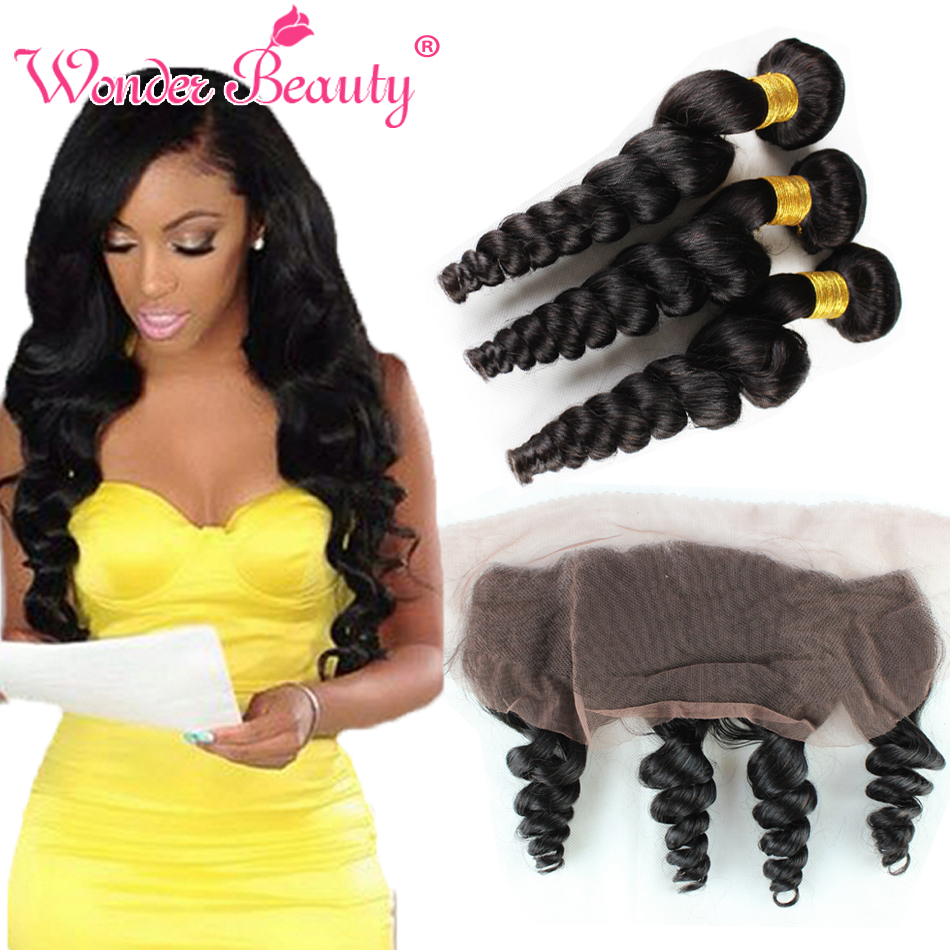 Virgin Malaysian Curly Hair Loose 3 Bundles With 13x4 Lace Frontal Closure Wave Weave Online Aliexpress Coupon On Alibaba