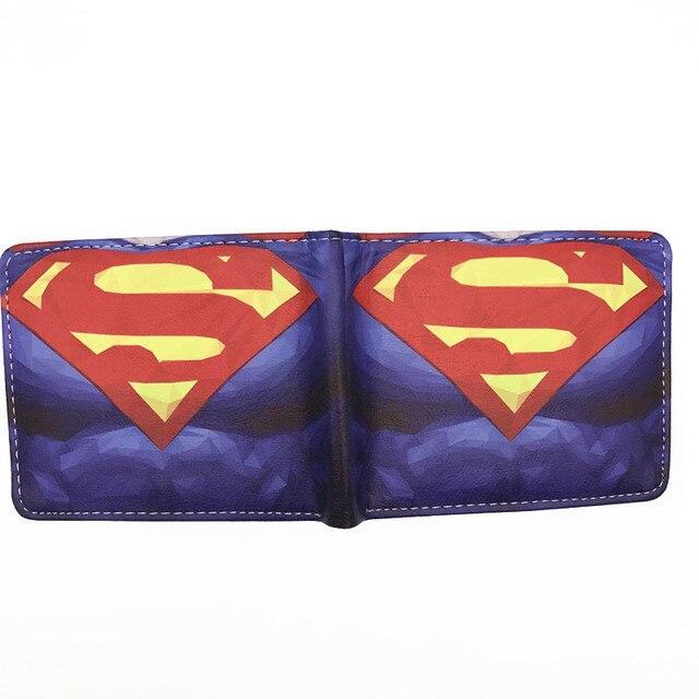 Portefeuille Comics DC héros Superman Batman rouge Robin The Flash Captain America noir panthère fer homme portefeuilles avec poche à monnaie