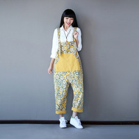 Plus Size Flor Impressão Macacão Mulheres Macacão Jeans Rasgado Jardineiras Fêmea Geral Suspensórios Casuais Grandes Estaleiros Calças com Suspensórios