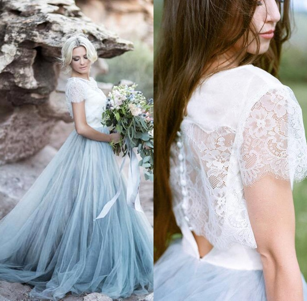 Romantic Light Blue Fairy Wedding Dress