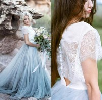 Vestido de noiva Romantic Light Blue Fairy Wedding Dress Beach Boho A Line Bride Dress Lace Tulle Backless Bohemian Bridal Gowns