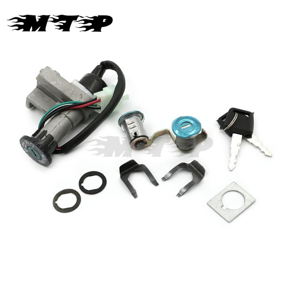 Ignition Switch Lock Toolbox Seat Lock Keys Set For Chinese Models 50cc 125cc 150cc GY6 Moped Taotao Roketa ATV Scooter 4 Wire