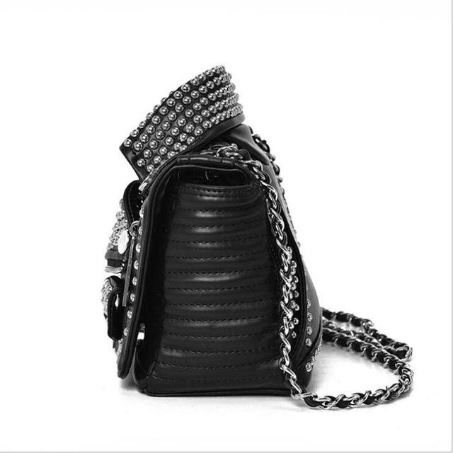 Free shipping 2017 NEW Designers  Women Leather Bags Handicraft Rivet Jacket Punk Style Messenger Bags Shoulder Crossbody Bag Go