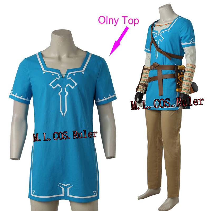 Us 46 0 Legend Of Zelda Breath Of The Wild Link Cosplay Costume Only Top Blue Shirt Custom Made For Halloween Clothes Free Shipping In Game Costumes
