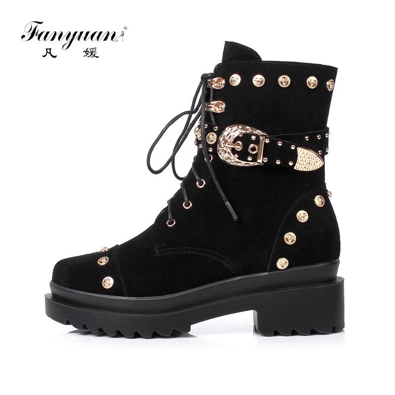 Fanyuan حذاء من الجلد النساء البقر المدبوغ عالية الكعب أحذية الخريف الشتاء 2019 السيدات جولة تو الدانتيل متابعة منصة امرأة أحذية بوت قصيرة-في أحذية الكاحل من أحذية على  مجموعة 1