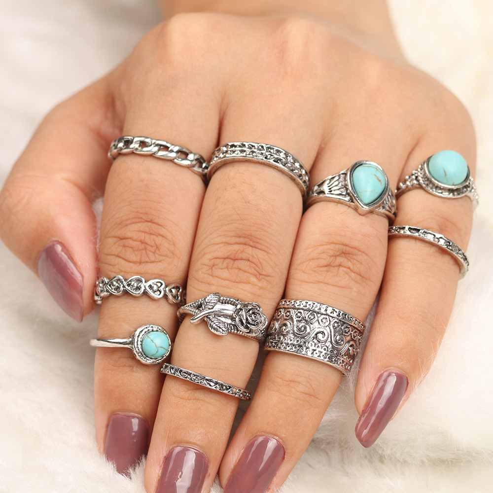 10Pcs/Set Vintage Punk Midi Rings Set Antique Gold Silver Color Boho Flower Charms Knuckle Ring For Women Fashion Party Jewelry