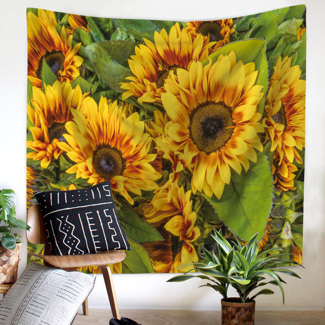 Painting Sunflower Sky Print Clouds Psychedelic Fatima Sun Wall Tapestry Beach Towels Dorm Farmhouse Decor Macrame Wall Hanging