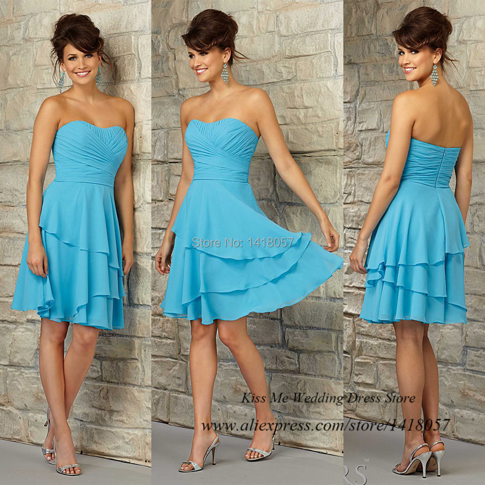 Free Shipping Turquoise Short   Bridesmaid     Dress   for Girls 2015 Chiffon Wedding Party   Dresses   Strapless Vestidos Para Madrinha