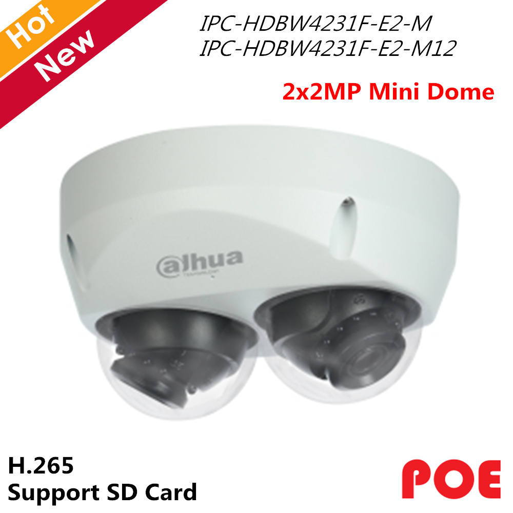 Dahua Panoramic Camera 2x 2MP IR Mini Dome IP Camera H 265 Smart Detection Support POE