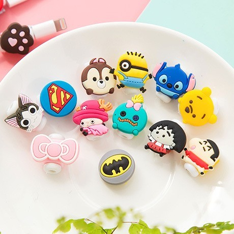 200pcs/lot Cartoon USB Cable Earphone Protector headphones line saver For Mobile phone charging line data cable protection