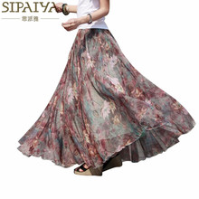 Pleated chiffon maxi skirt 2017 summer ankle-length bohemian floral print long skirts womens vintage saia longa