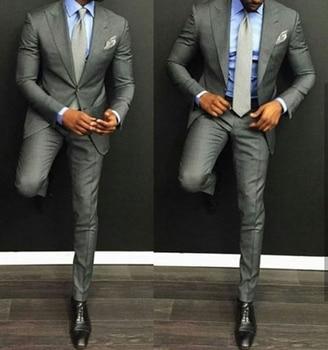 Peak Lapel Men's 2 Piece Handsome Wedding Groom Tuxedos Groomsman Best Man Suits C60