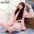 SenLan Warm Bear Ear Hooded Pajama Set Sweet Coral Fleece Ladies Lounge Wear for Winter