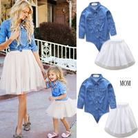 2017 New Mom Daughter Family Matching Family Clothes Top Solid Denim Short Sleeve Bluse White Mesh