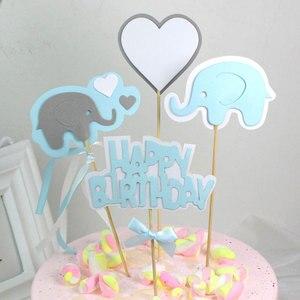 Image 4 - 4 teile/los Cartoon baby elephant kuchen topper geburtstag tasse kuchen dekoration baby dusche kinder geburtstag party hochzeit gunsten versorgung