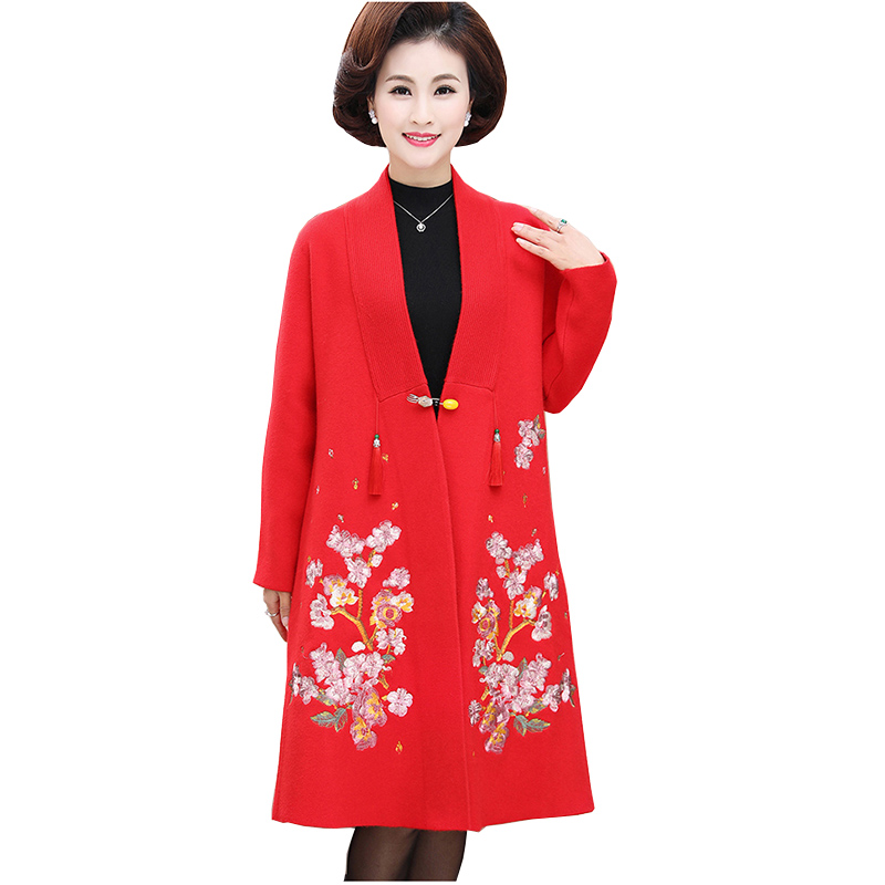 Fashion knitted embroidery flower Elegant Solid Knee Length   Trench   Coat 2019 Autumn Casual Women Cardigan Coats Outerwear NW1239