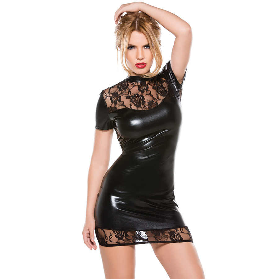 Mulheres Sexy Vestido De Couro Falso Sexy Babydoll Lingerie Hot Erotic Lace Vestido Backless Peluches Wetlook Latex Lenceria Pole Dance