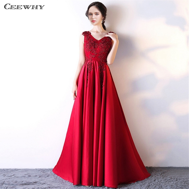 CEEWHY Open Back Satin Dress Elegant Long Evening Dresses Embroidery Prom  Dresses Plus Size Evening Gown Party Formal Gown f248580c64f9