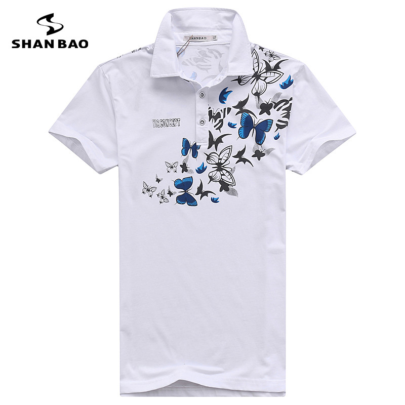 SHAN BAO casual clothing brand of high-quality cotton summer new men's lapel   POLO   shirt printing big size white black 5XL 6XL