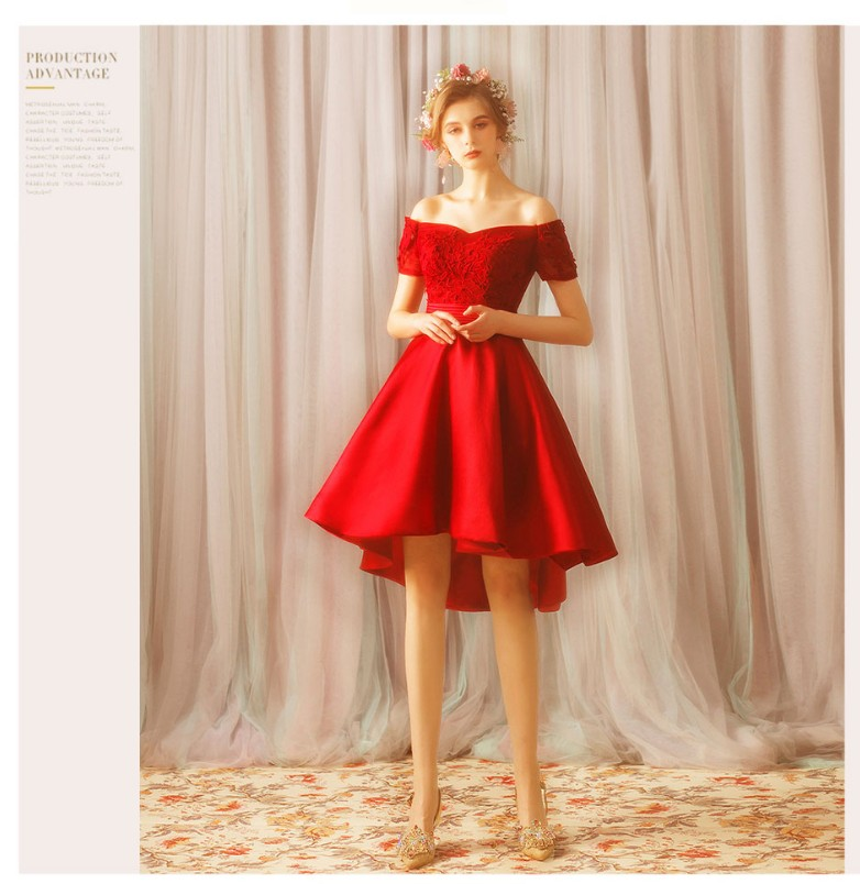 Short   Prom     Dress   2019 Red Boat Neck Short Front Long Back Satin With Applique Lace