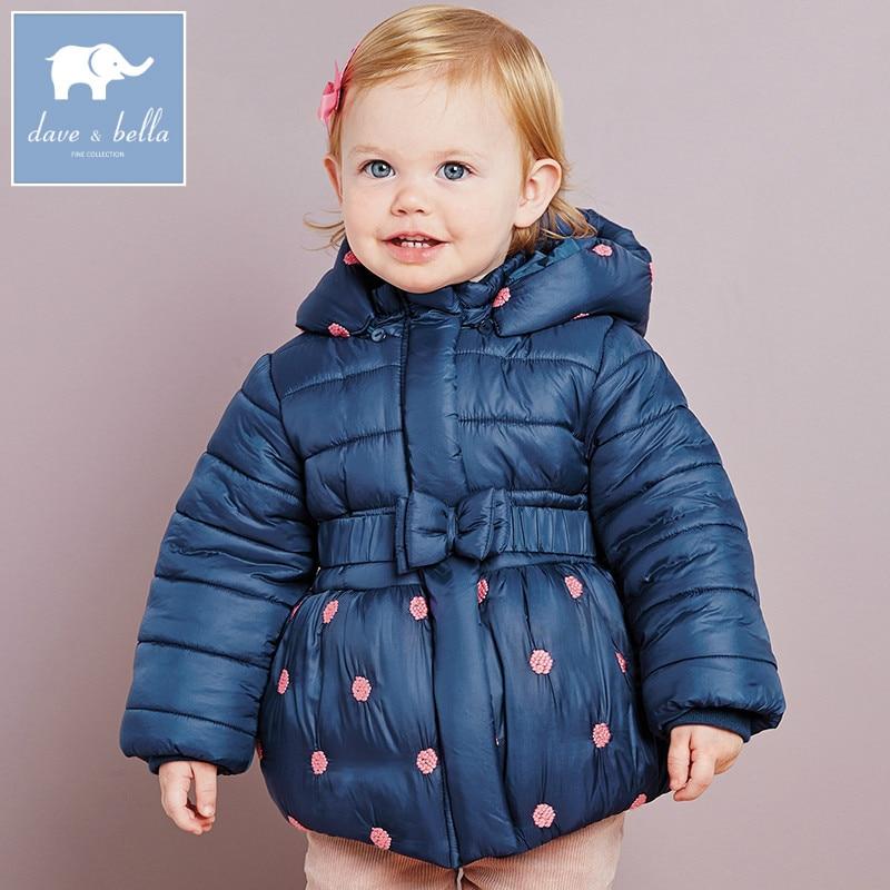 DB2681 dave bella winter infant baby girls jacket children coat kids hooded outerwear