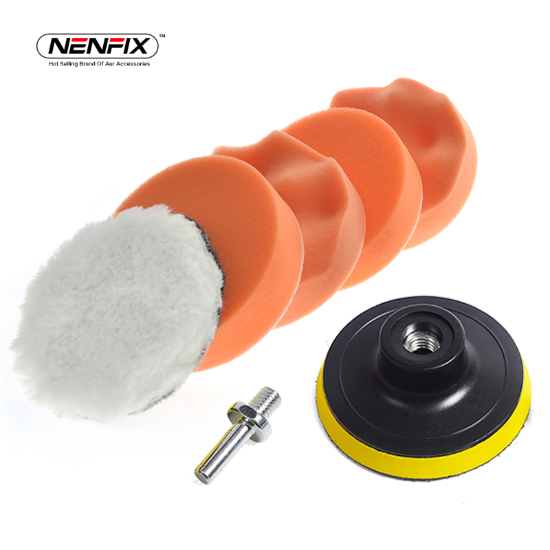 цена на 7pcs 3 Car Sponge Polishing Pad Set Polishing Buffer Waxing Adapter Drill Kit for Auto Body Care Headlight Assembly Repair
