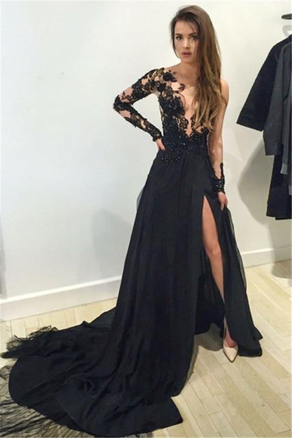 Vestidos de noche con manga larga de encaje