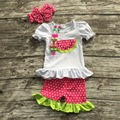 Новорожденных девочек летней одежды девушки бутик одежды девушки арбуз наряды в горошек рюшами шорты устанавливает с аксессуарами