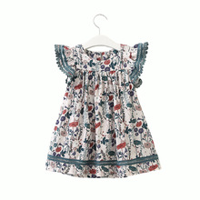 цена на Summer Girls Dress Cotton Flying Sleeve Print Princess dress Dress Baby Girl Clothes Kids Dresses for Girls 2 3 4 5 6 7 Years