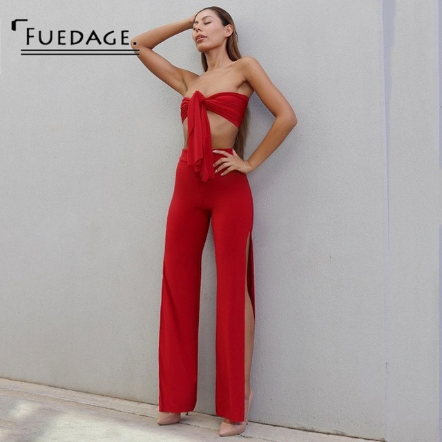 ade74b00836 Fuedage Summer Women Strapless Two Piece Set 2018 New Sexy Off Shoulder Top  Casual Loose Rompers
