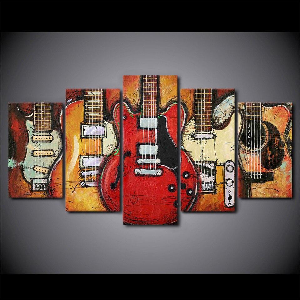 5 pièces encadré HD imprimé guitare instruments musique photo mur Art toile chambre décor affiche toile moderne peinture à l'huile