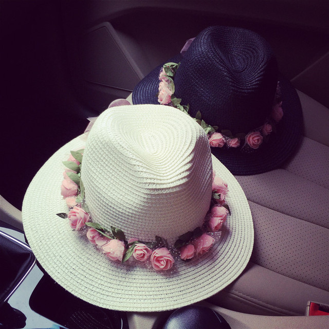Beach vacation sun hat Wreath women summer straw hat Flowers jazz hat Black and white two color