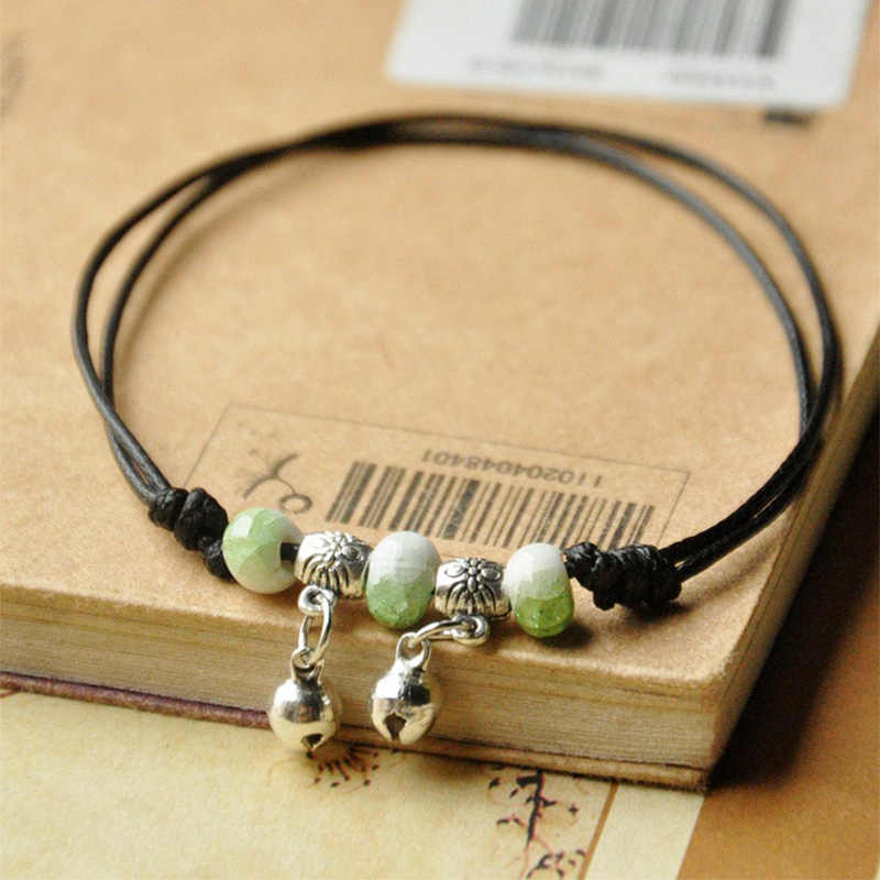 Ceramic Beads Bracelets Weave Rope Chain Silver Bronze Bell Charm Cuff Bangles Adjustable Wristbands Women Ethnic Jewelry Anklet