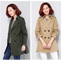 100% cotton trench plus size M-4XL middle age women windbreaker double breasted fashion coats 2017 spring new
