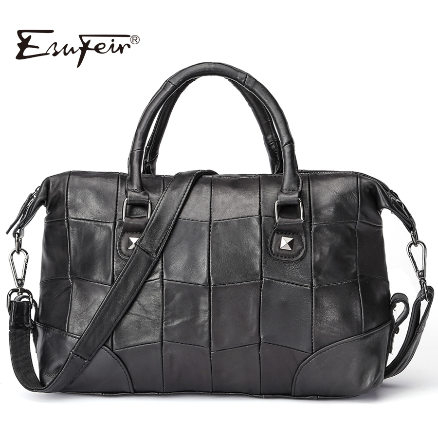 ESUFEIR Brand Genuine Leather Women Handbag Patchwork Sheepskin Leather Boston Women Bag Large Capacity Shoulder Bag Pillow Bag 2017 esufeir brand genuine leather women handbag fashion shoulder bag solid cowhide composite bag large capacity casual tote bag